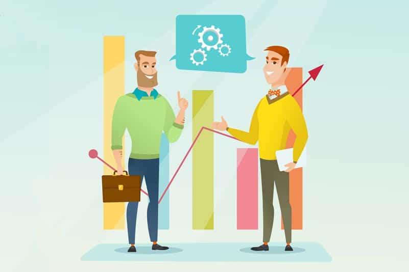 ilustração de homens fazendo análise de mercado