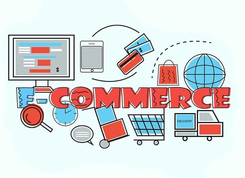 vários ícones representando e-commerce