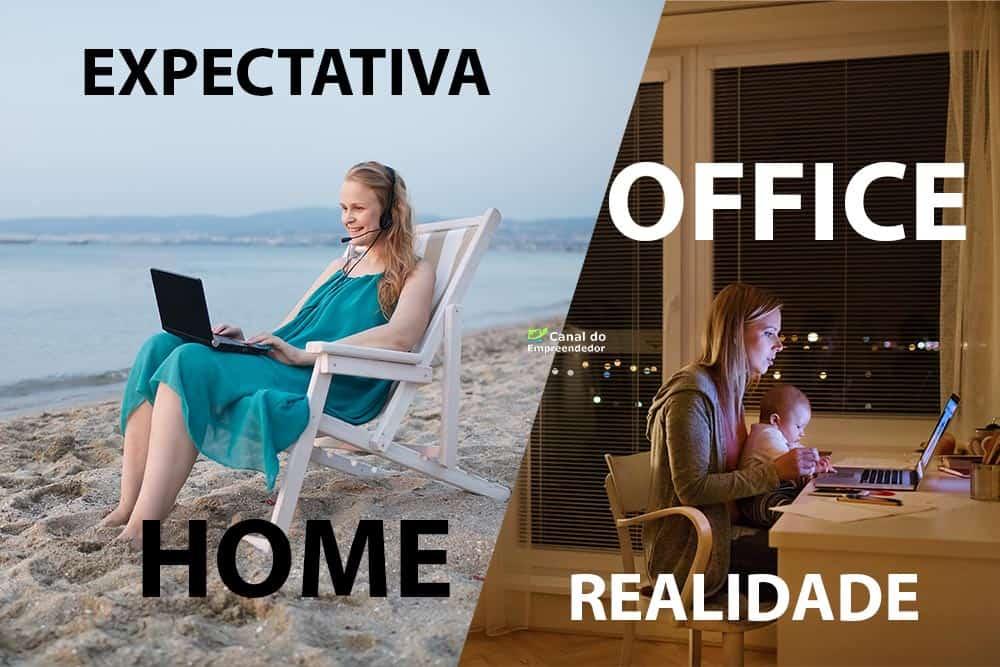 Duas mulheres trabalhando em situações diferentes, uma na praia, outra em casa com um bebê