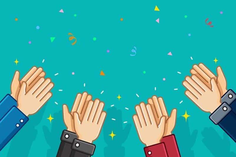 ilustração de aplausos representando o poder do elogio