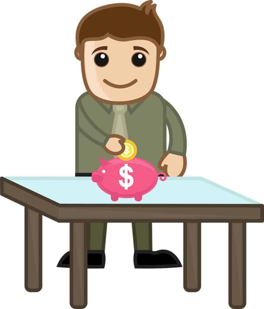 homenzinho poupando dinheiro