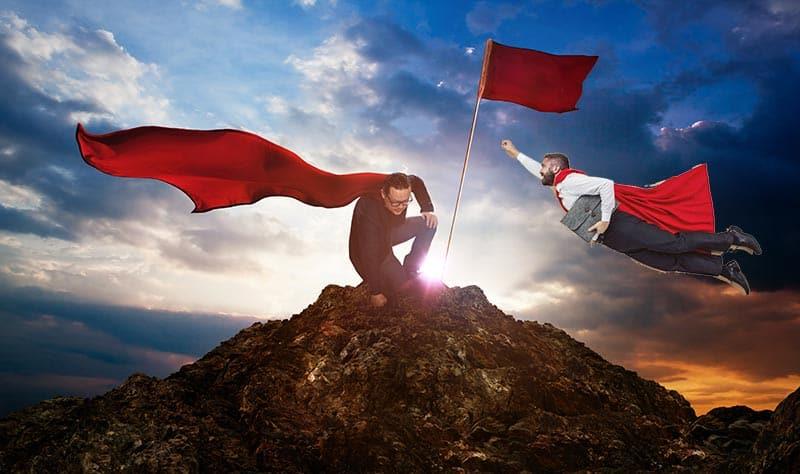 Homens com capa e voando representando Como ser um Empreendedor de sucesso