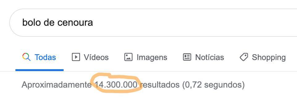 14 milhões de respostas para bolo de cenoura no Google