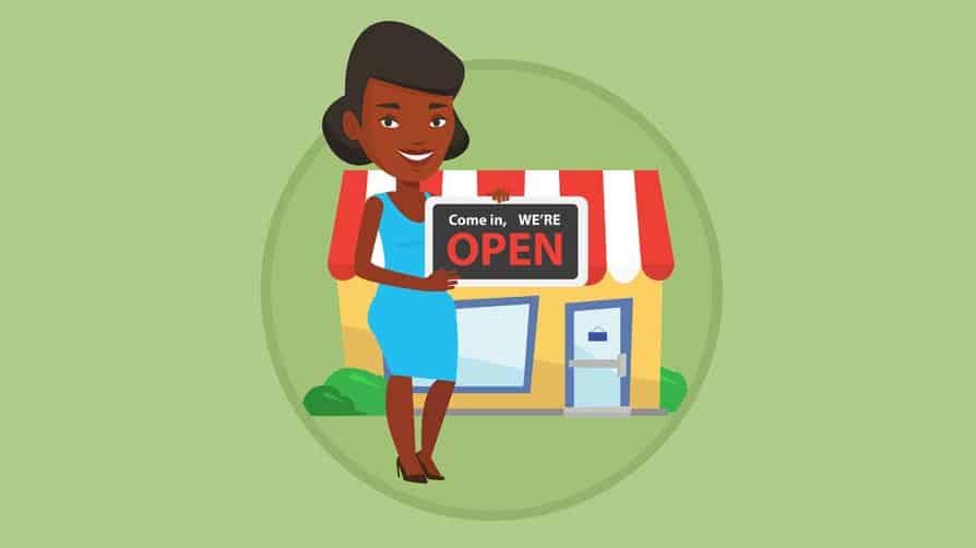 ilustração de mulher negra em frente à sua pop-up store